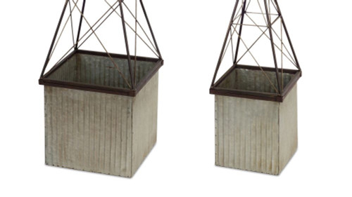 """Set of 2 Gray Rustic Finished Metallic Vertical Planter Display Stands 11"""" - IMAGE 1"""