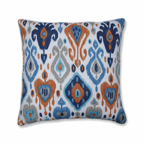 """Set of 2 Vibrantly Colored Ikat Pattern Square Floor Pillows 25"""" - IMAGE 1"""