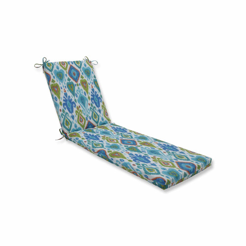 """80"""" Vibrantly Colored Ikat Pattern Outdoor Patio Chaise Lounge Cushion - IMAGE 1"""