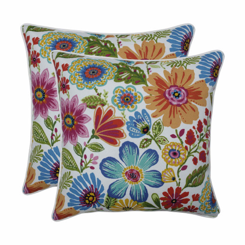"Set of 2 Vibrantly Colored Floral Pattern Square Throw Pillows 18.5"" - IMAGE 1"