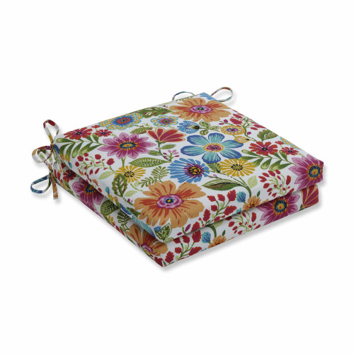 "Set of 2 Vibrantly Colored Floral Squared Corners Seat Cushions 20"" - IMAGE 1"