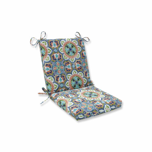 """36.5"""" Blue and Green Squared Corners Chair Cushion - IMAGE 1"""