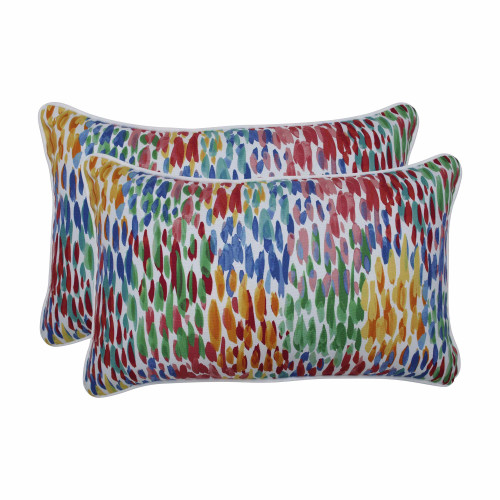 """Set of 2 Vibrantly Colored Contemporary Pattern Rectangular Throw Pillows 18.5"""" - IMAGE 1"""