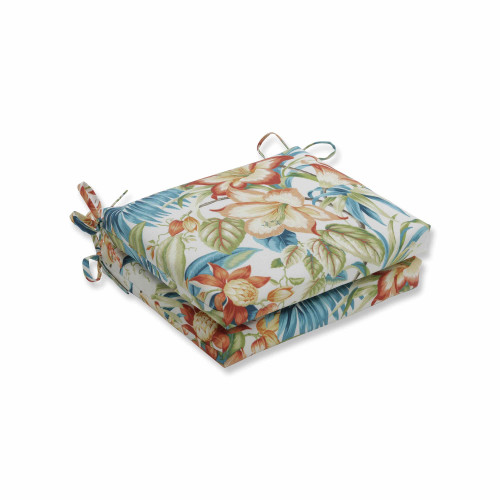 "Set of 2 Vibrantly Colored Tropical Pattern Seat Cushions 18.5"" - IMAGE 1"