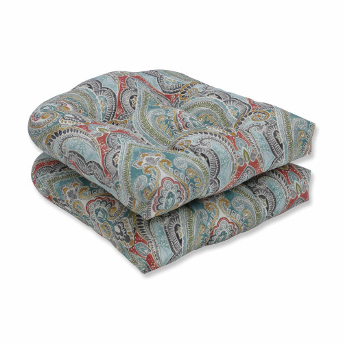 """Set of 2 Subtle Colored Damask Pattern Outdoor Patio Wicker Seat Cushions 19"""" - IMAGE 1"""