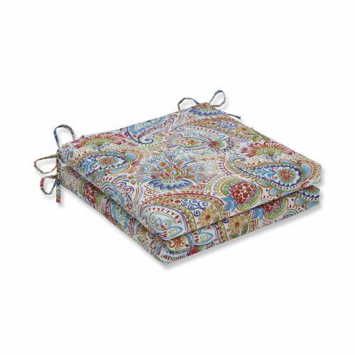 """Set of 2 Vibrantly Colored Paisley Pattern Square Corners Seat Cushions 20"""" - IMAGE 1"""
