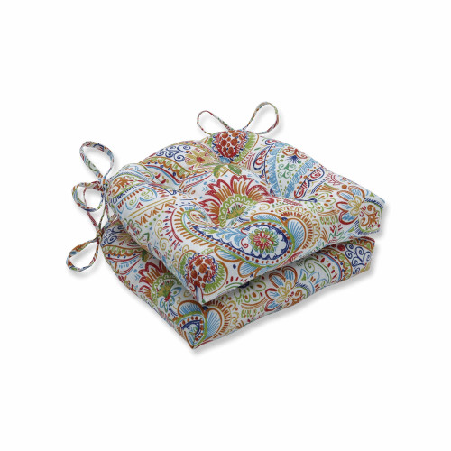 """Set of 2 Vibrantly Colored Paisley Pattern Outdoor Patio Chair Pads 16"""" - IMAGE 1"""