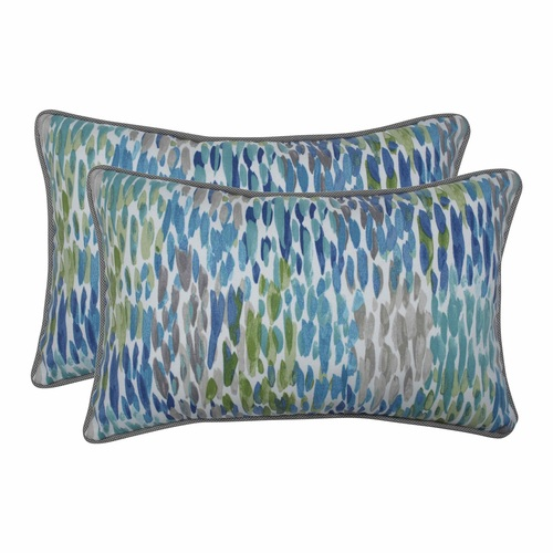 """Set of 2 Blue and White Contemporary Rectangular Throw Pillow 18.5"""" - IMAGE 1"""