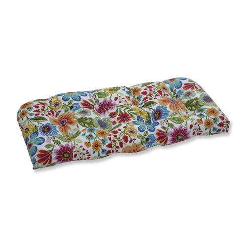 "44"" Vibrantly Colored Floral Pattern Outdoor Patio Wicker Loveseat Cushion - IMAGE 1"