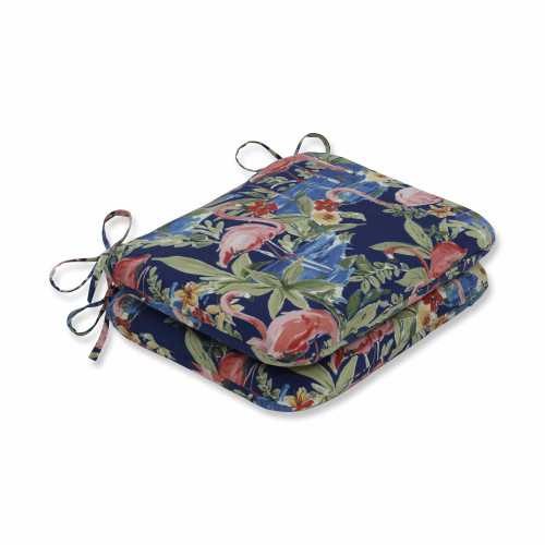 """Set of 2 Flamingoing Lagoon Blue Rounded Corners Seat Cushions 18.5"""" - IMAGE 1"""