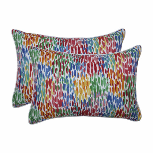 "Set of 2 Vibrantly Colored Contemporary Pattern Over-Sized Rectangular Throw Pillows 24.5"" - IMAGE 1"