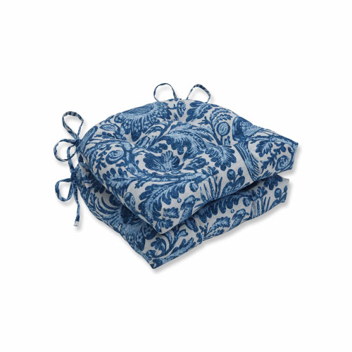 """Set of 2 Azure Blue Reversible Chair Pads with Ties 16"""" - IMAGE 1"""