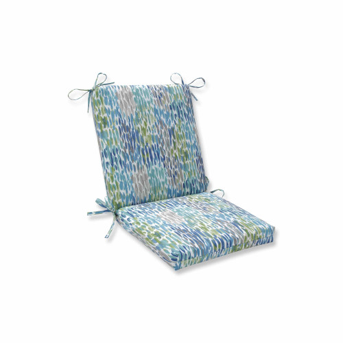 """36.5"""" Blue and White Contemporary Squared Corners Chair Cushion - IMAGE 1"""