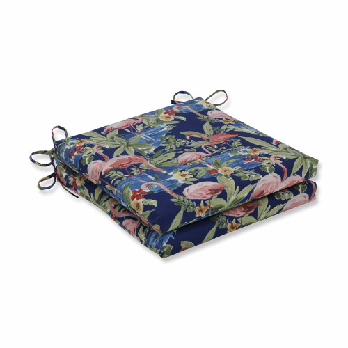 "Set of 2 Flamingo Lagoon Blue Squared Corners Seat Cushions 20"" - IMAGE 1"