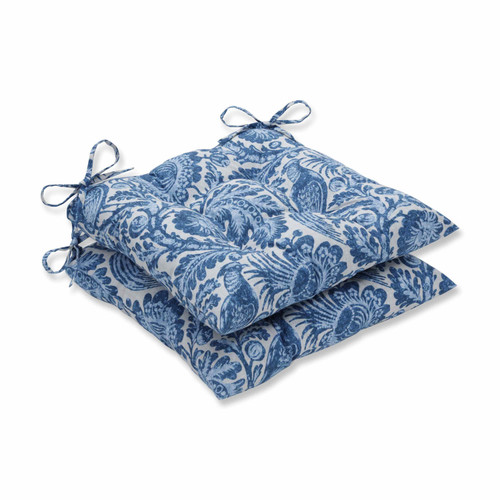"""Set of 2 Blue and White Floral with Pheasant Bird Printed Indoor/Outdoor Seat Cushions 19"""" - IMAGE 1"""