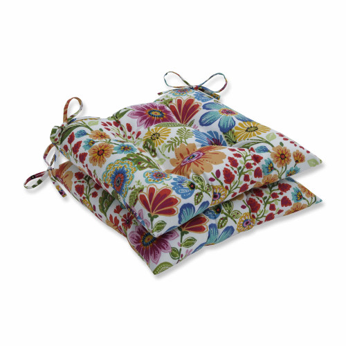 "Set of 2 Vibrantly Colored Floral Pattern Seat Cushions 19"" - IMAGE 1"