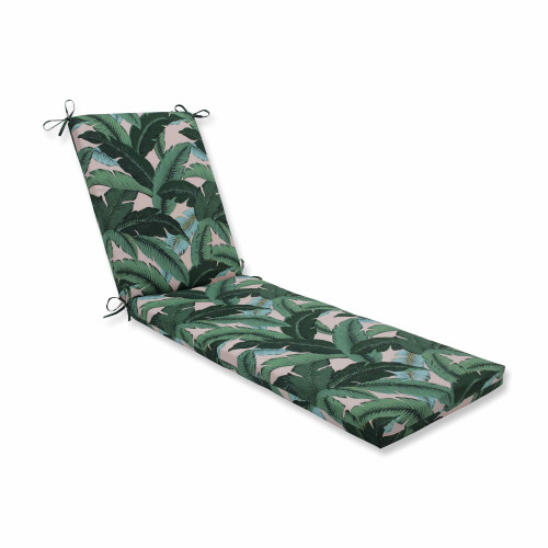 """80"""" Blue and Green Tropical Patterned Chaise Lounge Cushion - IMAGE 1"""