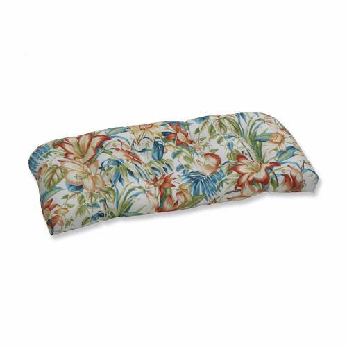"44"" Sunbrella Blue and Green Wicker Loveseat Cushion - IMAGE 1"