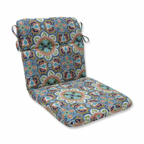 """40.5"""" Blue and Green Rounded Corners Chair Cushion - IMAGE 1"""