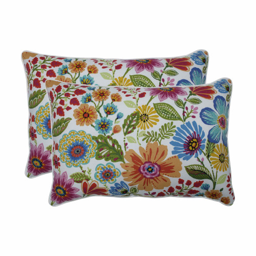 """Set of 2 Vibrantly Colored Floral Pattern Over-sized Throw Pillows 24.5"""" - IMAGE 1"""
