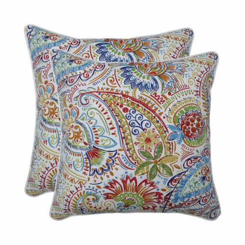 "Set of 2 Blue UV/Fade Resistant Outdoor Patio Square Throw Pillows 18.5"" - IMAGE 1"