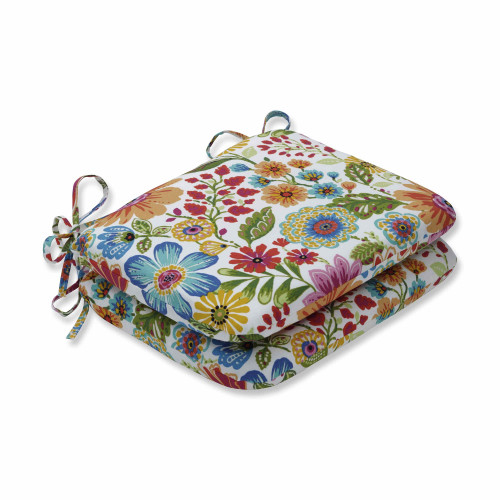 """Set of 2 Vibrantly Colored Floral Pattern Rounded Corners Seat Cushions 18.5"""" - IMAGE 1"""