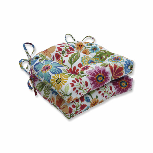 """Set of 2 Vibrantly Colored Floral Pattern Reversible Chair Pads 16"""" - IMAGE 1"""
