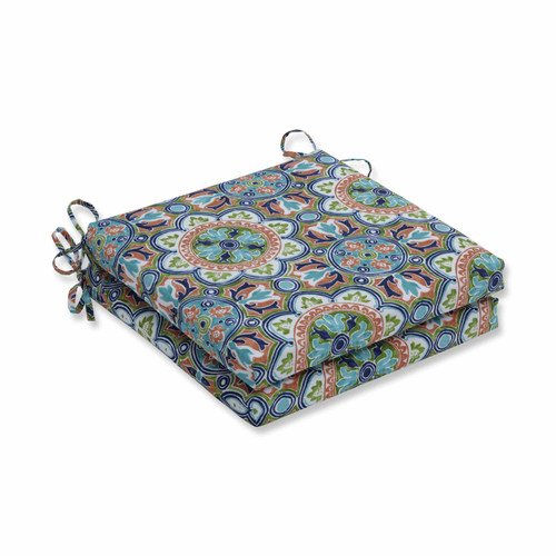 """Set of 2 Blue and Green Squared Corners Seat Cushions 20"""" - IMAGE 1"""