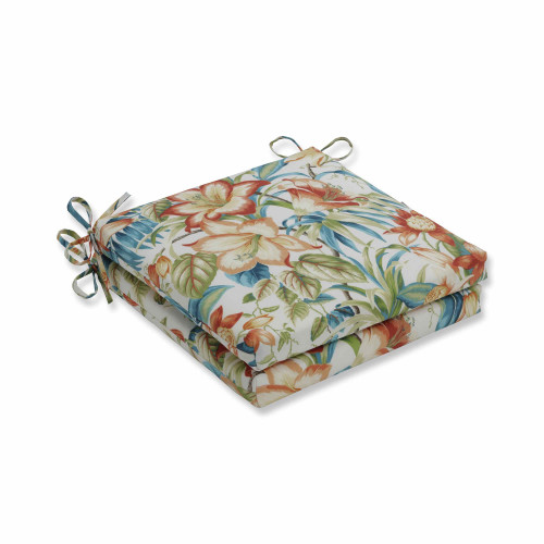 """Set of 2 Vibrantly Colored Tropical Pattern Square Corners Seat Cushions 20"""" - IMAGE 1"""