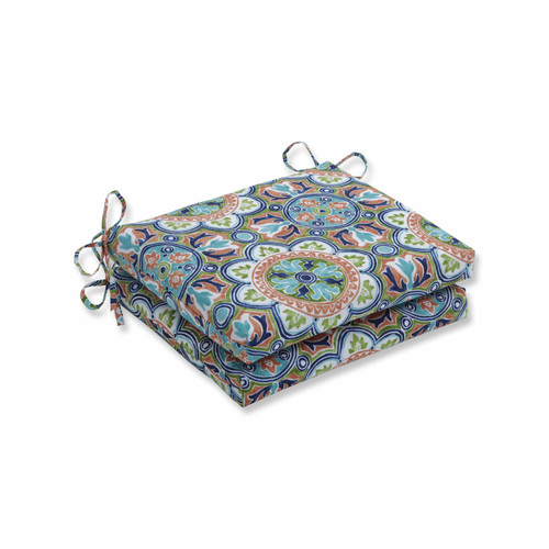 """Set of 2 Blue and Green Squared Corners Seat Cushions 18.5"""" - IMAGE 1"""