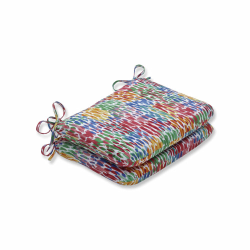 """Set of 2 Vibrantly Colored Contemporary Pattern Round Corners Seat Cushions 18.5"""" - IMAGE 1"""