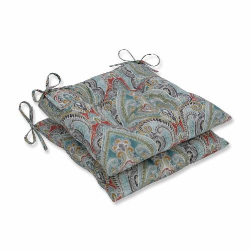 "Set of 2 Vibrantly Colored Damask Pattern Rectangular Seat Cushions 19"" - IMAGE 1"