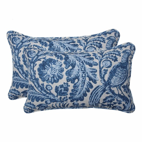 """Set of 2 Blue and White Floral with Pheasant Bird Printed Indoor/Outdoor Throw Pillows 18.5"""" - IMAGE 1"""