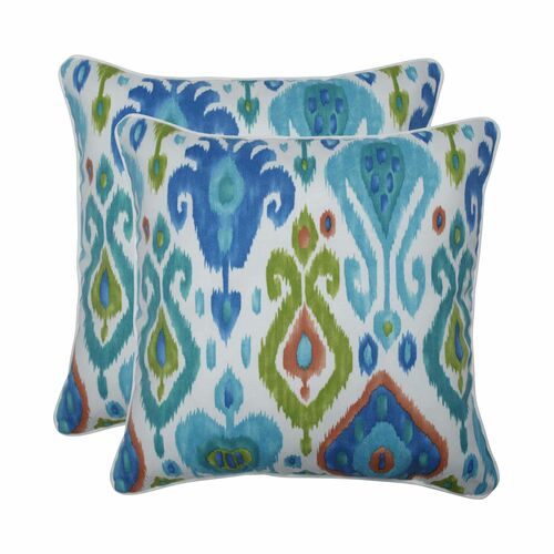 """Set of 2 Blue and Green Square Throw Pillows 18.5"""" - IMAGE 1"""