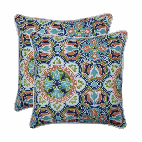"Set of 2 Blue and Green Damask Pattern Square Throw Pillows 18.5"" - IMAGE 1"