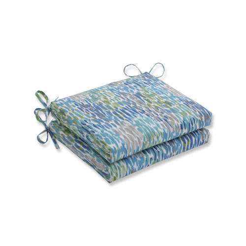 """Set of 2 Blue and White Contemporary Squared Corners Seat Cushions 18.5"""" - IMAGE 1"""