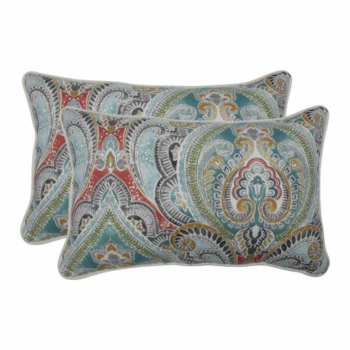 "Set of 2 Vibrantly Colored Damask Pattern Rectangular Throw Pillows 18.5"" - IMAGE 1"
