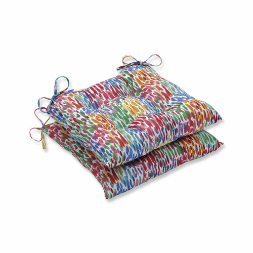 """Set of 2 Vibrantly Colored Contemporary Pattern Seat Cushions 19"""" - IMAGE 1"""