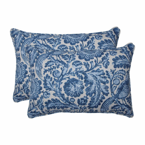 """Set of 2 Blue and White Over-Sized Rectangular Throw Pillows 24.5"""" - IMAGE 1"""