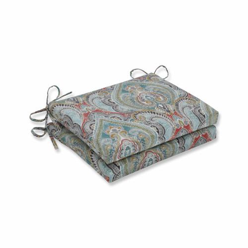 "Set of 2 Vibrantly Colored Damask Pattern Square Corners Seat Cushions 18.5"" - IMAGE 1"