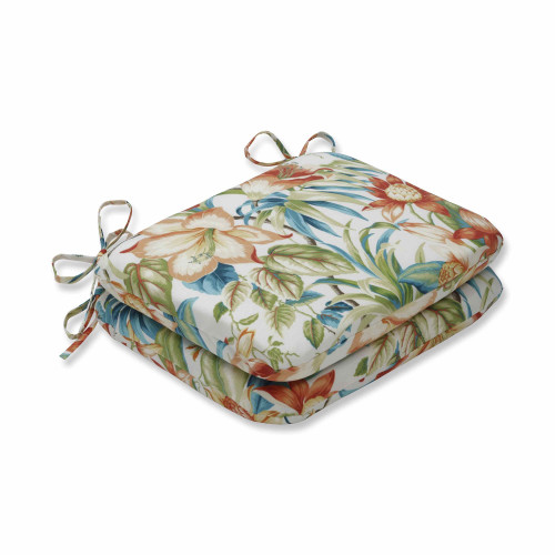 "Set of 2 Sunbrella Blue and Green Rounded Corners Seat Cushions 18.5"" - IMAGE 1"