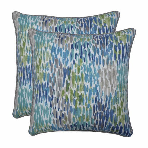"""Set of 2 Blue and White Contemporary Square Throw Pillows 18.5"""" - IMAGE 1"""