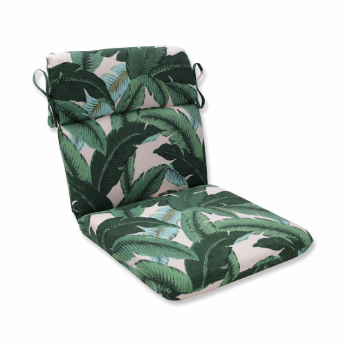 """40.5"""" Blue and Green Tropical Pattern Rounded Corner Chair Cushion - IMAGE 1"""