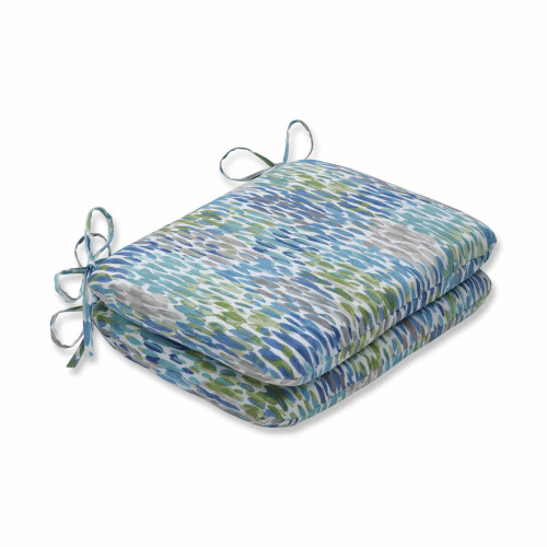 """Set of 2 Blue and White Contemporary Rounded Corners Seat Cushions 18.5"""" - IMAGE 1"""