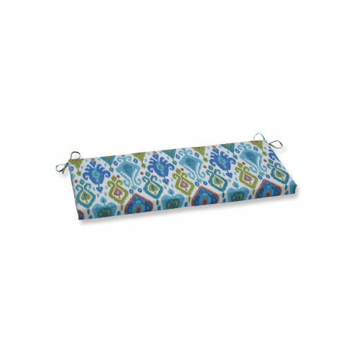 """45"""" Vibrantly Colored Ikat Pattern Outdoor Patio Bench Cushion - IMAGE 1"""
