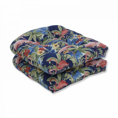 """Set of 2 Subtle Colored Floral Pattern Outdoor Patio Wicker Seat Cushions 19"""" - IMAGE 1"""