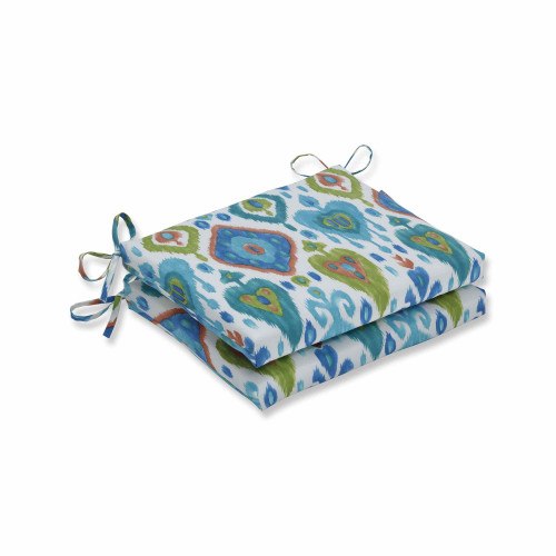 """Set of 2 Vibrantly Colored Ikat Pattern Squared Corners Seat Cushions 18.5"""" - IMAGE 1"""