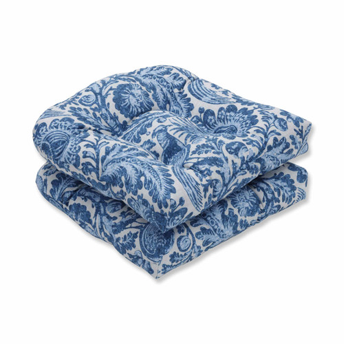"Set of 2 Blue and White Floral with Pheasant Bird Printed Wicker Seat Cushions 19"" - IMAGE 1"