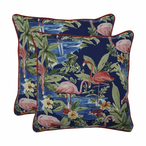 """Set of 2 Flamingoing Lagoon Blue Squared Throw Pillows 18.5"""" - IMAGE 1"""