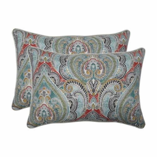 "Set of 2 Vibrantly Colored Damask Pattern Rectangular Throw Pillows 24.5"" - IMAGE 1"